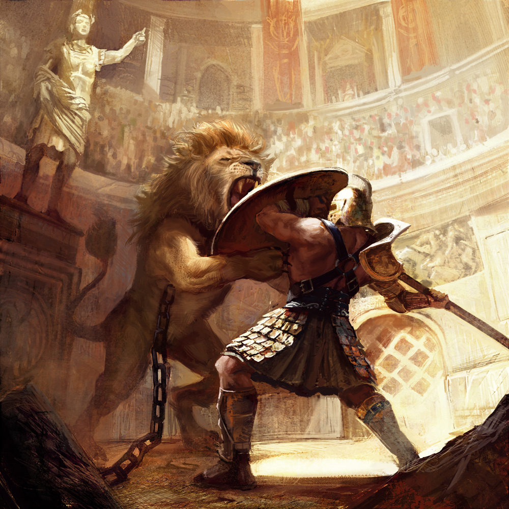 gladiator vs lion